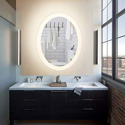 CO-Z LED Lighted Bathroom Wall Mounted Mirrorr, Plug-in Modern Oval LED Lighted -