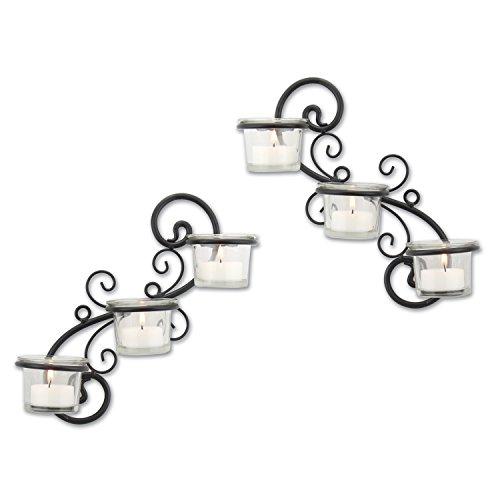 Stonebriar Decorative Tea Light Candle Holder Wall Sconce Set, Contemporary Home Decor for Living Room, Hallway, or Bedroom, Black, Metal, Set of 2 (Holder Sconce Candle)