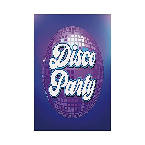 Polyester Garden Flag Outdoor Flag House Flag Banner,70s Party Decorations,Retro Lettering on Disco Ball Night Club Theme Dance and Music Decorative,Purple Blue White,for Wedding Anniversary Home -