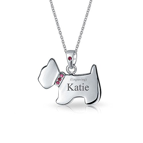 Engravable Pink CZ Collar Westie Scottie Terrier Dog Pendant Necklace For Women For Teen 925 Sterling Silver