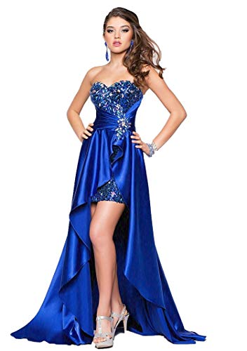 (RQH Women Sexy Strapless Beaded High Low Maxi Evening Party Prom Gowns)
