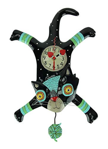 Allen Designs Craft Attack Cat Whimsical Kitten Yarn Ball Pendulum Wall Clock