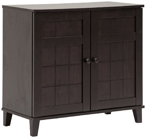 - Baxton Studio Glidden Wood Modern Shoe Cabinet, Short, Dark Brown
