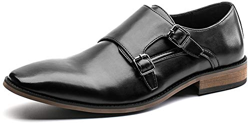 (Men's Dress Shoes Monk Strap Double Buckle Loafers Slip on Oxford Shoes(7(D,M) US,Black))