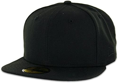 New Era 59FIFTY Fitted Cap Blank Black with Grey Undervisor Plain Blanks Hat 08f918aa024a