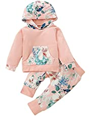 Xumplo Baby Girl Clothes Long Sleeve Flowers Hoodie Tops and Pants with Pocket Newborn Infant Baby Toddler Girls