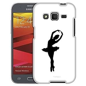 Samsung Galaxy Core Prime Case, Slim Fit Snap On Cover by Trek Silhouette Ballerina Ballet Dancer on White Case