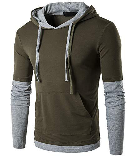 QPNGRP Mens Hoodie Shirt Hip-hop Hooded T-Shirt B26 ArmyGreen Medium