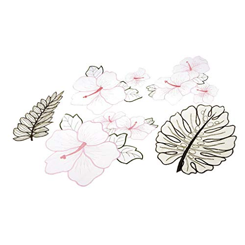 5pcs/Set Flower Leaves Embroidery Organza Patches Sew on Appliques DIY Decor ()