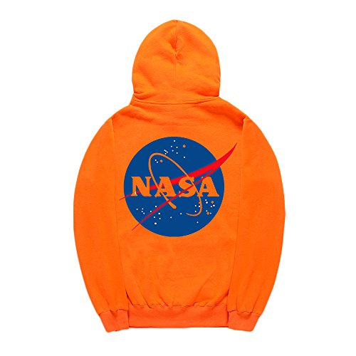 CORIRESHA Street Style Fashion Front and Back NASA Logo Drawstring Hoodie -