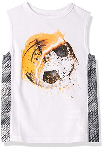 (The Children's Place Boys' Big Sleeveless Graphic Active Tank Top, White, M (7/8) )