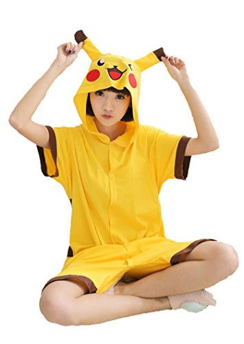 [Yimidear Unisex Summer Cute Cartoon Cotton Onesie Sleepwear Cosplay Costume Animal Pajamas (S,] (Pikachu Costumes Women)