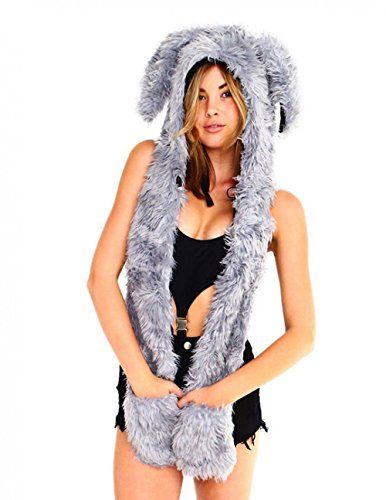 iHeartRaves Rabbit Rave Spirit Fluffy Furry Hood (Grey) (Furry Rave Hoods)