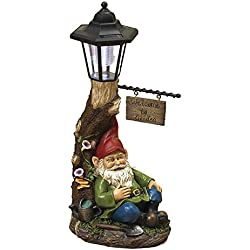 "18"" Large Solar Lighted Tree WELCOME TO GARDEN Sign Lamp Post with Sleeping Garden Gnome Patio Porch Garden Decor ~ Resin ~"