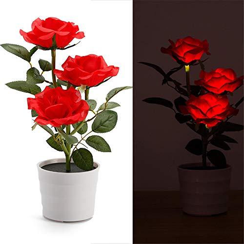Solar Rose Bonsai Light, Elevin(TM) Solar Rose Flower Lights LED Artificial Rose Pot Flower Bonsai LED Lamp (Red)
