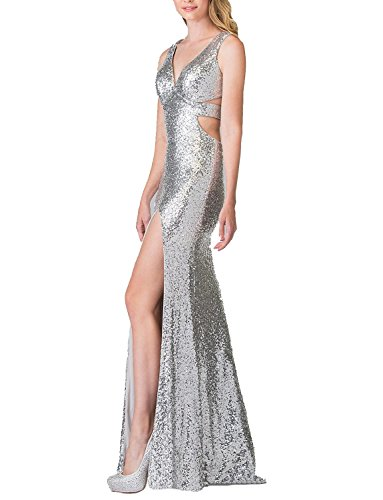 b9f39487af4e DarlingU Women s 2018 A-line V-Neck Sequins Evening Party Gowns High ...