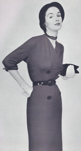 Vintage Knitting PATTERN to make - Dress Draped Yoke Neckline Straight Skirt 1940s. NOT a finished item. This is a pattern and/or instructions to make the item ()