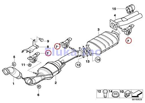3 x BMW Front Exhaust Hanger - Rear Center Muffler X5 3.0i X5 4.4i X5 4.6is X5 - Muffler Center Ansa