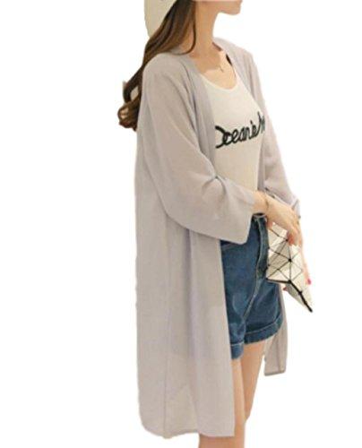 [マジックショップス] レディース ロング カーディガン 七分袖 シフォン 大きいサイズ 薄手 UVカット ゆったり ガウン