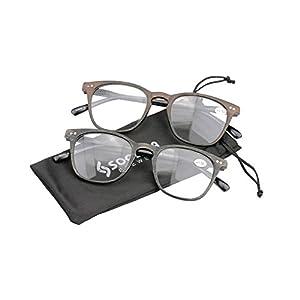 SOOLALA Mens Retro Woodgrain Stylish Wayfarer Reading Glasses with Spring Hinge Arms, +1.5, 2mix