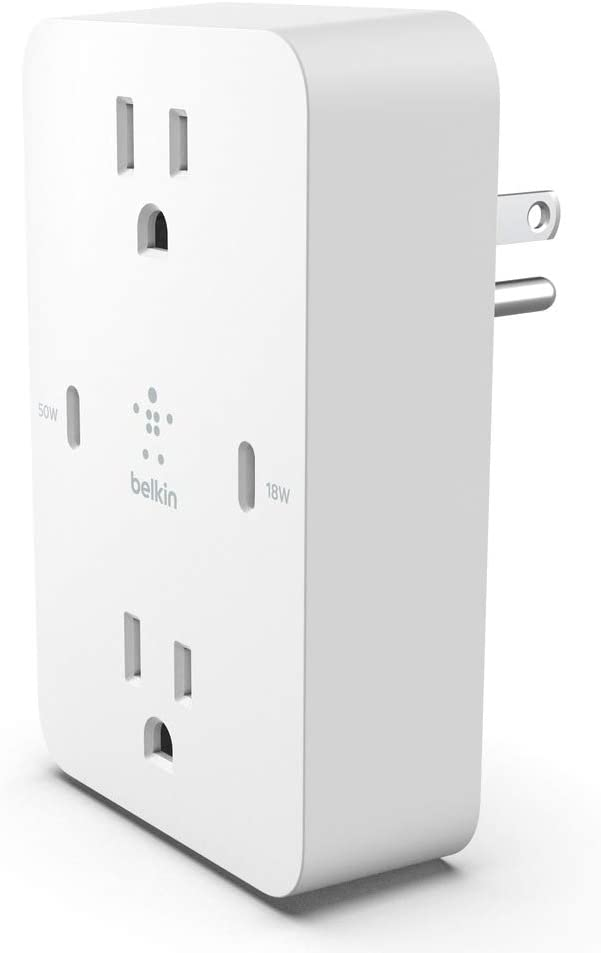 Belkin Boost↑Charge Pro Fast Charging Wall Charger 2X AC Sockets, 2X USB-C Charging Ports Up to 68W Combined Fast Charging Power with GaN Technology