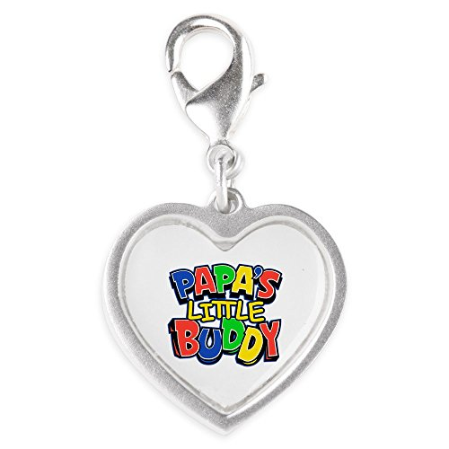 8746b5068 Silver Heart Charm Papa's Little Buddy Dad Father Son