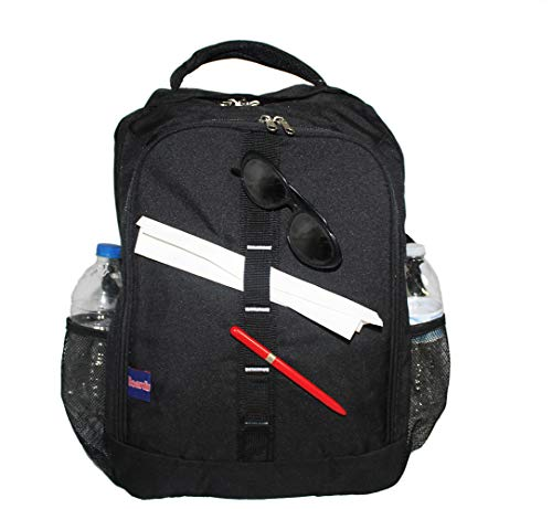 """18"""" Personal Item Laptop Backpack under seat free carry on for America, Spirit, Frontier Airlines (BLACK)"""