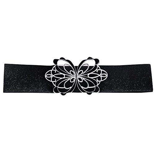 Butterfly Elastic Belt (Ayliss Women Hollow Butterfly Buckle Waistband Elastic Waist Cincher Belt (#2)