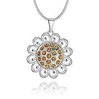 Lureme Fashion Silver Tone Filigree Sunflower with Topaz Rhinestone Pendant Necklace (nl005397)