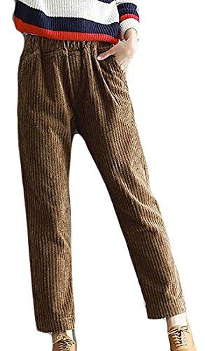 Elastic Waist Corduroy Pants - Sweatwater Womens Corduroy Casual Elastic Waist Loose Autumn Harem Pants Coffee Small