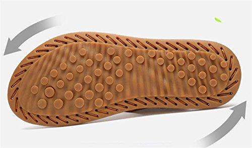 Chaussures Homme SK de Ouvertes Respirant Anti Cuir Studio Glissement Sandales Slippers Jaune Sandales Marche Été Sandales Sport Plein Air wRr7wxf5q