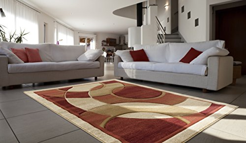 All New Modern Contemporary Circle Carved Design Area Rug Legacy Collection by Rug Deal Plus (7'11'' x 10'7'', Burgundy/Beige) by Rug Deal Plus