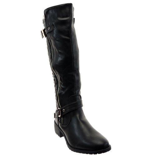 Kickly - damen Mode Schuhe Stiefel Stiefeletten Reitstiefel - Kavalier - biker - besetzt Schuhabsatz Blockabsatz - Schwarz T 41 - UK 7.5