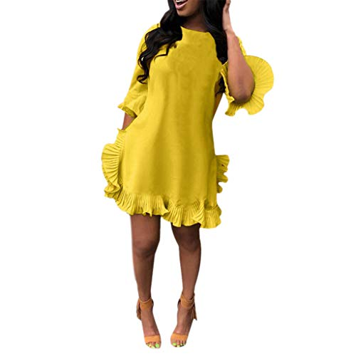 LIKESIDE Dress Sexy Leisure Solid Color Pleated Irregular Ruffled Skirt Dresses Yellow