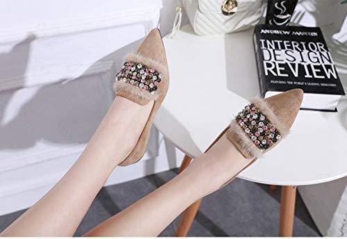 Kaki Shoes Bout Flats Pointu Mocassins Élégant Femmes Doux Trendy Femelle Confortables Avec q1xCxEwP5
