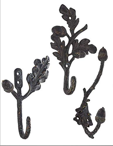 Hook Leaf Wall - Victorian Trading Co Pewter Acorn and Oak Leaf Wall Hooks Hangers