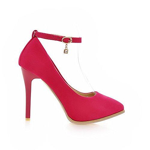 AllhqFashion Damen Stiletto Mattglasbirne Rein Schnalle Spitz Zehe Pumps Schuhe Rosa