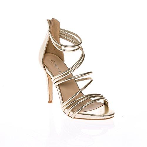 CALICO KIKI Women's ADELYN-CK02 Gladiator Cross Strap Open Toe Stiletto Heel Sandals Dress Pump (9 US, Gold (Metallic Open Toe Pumps)