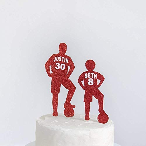 Birthday Cake Topper/Football Player Birthday name and age/Party Cake Decoration/Cake Decoration/Personalised/Shirt/Father & Son/Any Team Colour.