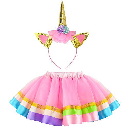 JiaDuo Girls 5 Layer Pink Tutu Skirt Unicorn Horn Headband Baby Birthday Costume Rainbow Tulle Tutu Set S ()