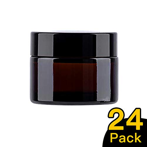 Snow Diamond 50ml 1.7 oz, 24 Pack Empty Amber Round Glass Jars, with White Inner Liners and black Lids, High End Glass Containers for Salve Cream, Premium Vials 50ml 1.7 oz, 24 Pack