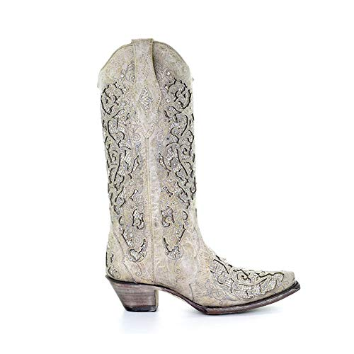 Corral Womens White Glitter Inlay & Crystals, Size: 7.5, Width: W (A3322-LD-W-7.5) ()