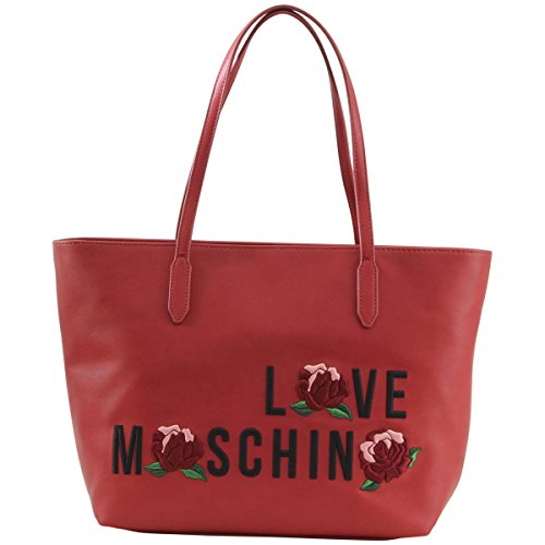 Love Moschino Women's Embroidered Rose Red Tote Handbag by Love Moschino
