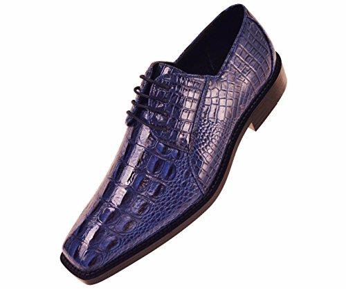 Bolano Mens Royal Blue Classic Oxford Exotic Faux Crocodile Print Dress Shoe: Style Cappi Royal Blue-052 12 D (M) US