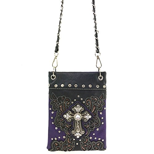 Long Strap Messenger Purse Bag Rhinestone Gleam Pouch Body Justin Floral Purple Only West Bling Cross with Cross xwgqYvTO