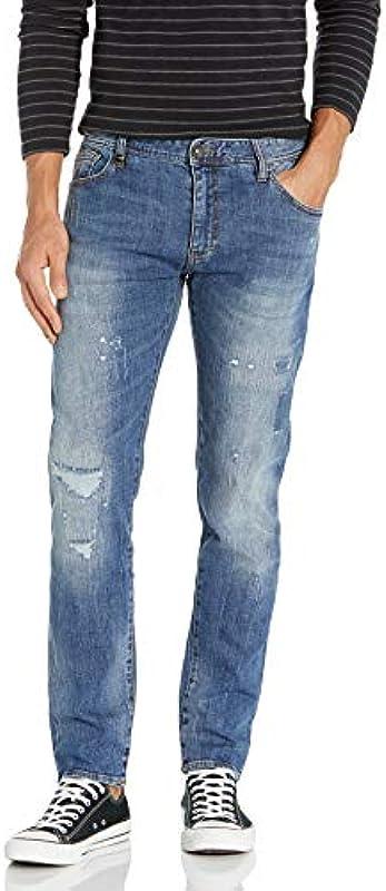 Armani Exchange AX Męskie J14 Jeans, Indigo Denim, 48: Odzież