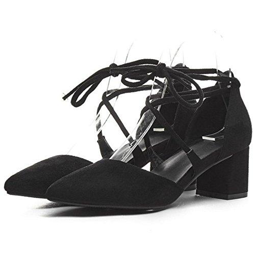 Coolcept Women Fashion Lace up Sandals Closed Toe Block Heel Shoes Black CWlLV8Z