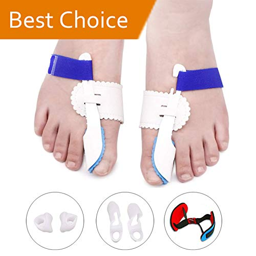 Bunion Corrector, Bunion Splints with Bunion Tape for Hallux Valgus, Big Toe Joint,Adjustable Velcro Bunion Splint Protector Sleeves kit(Women and Men,7 pcs)