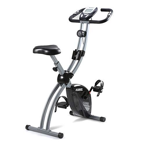 🥇 KUOKEL Bicicleta Estática Plegable Bicicleta Spinning Exercise Bike Resistencia Variable Ruido Bajo Monitor LCD Soporte para Teléfono Bicicleta de Ejercicio …