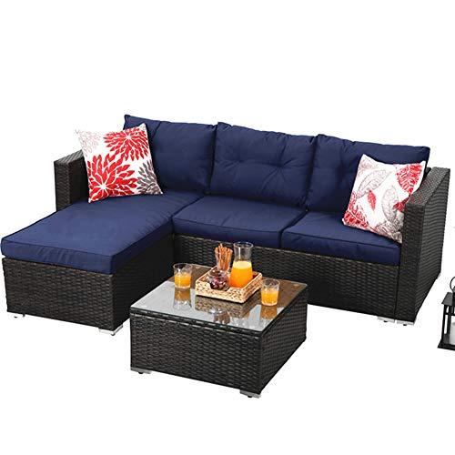 PHI VILLA 3-Piece Outdoor Patio Sofa- Patio Wicker Furniture Set (Blue)